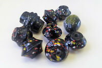 9 handmade LARGE GLASS BEADS Black Multicolor mixed shapes lot