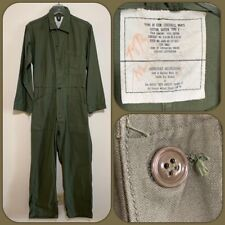 VTG 1983 US Army SMALL Sateen Coveralls Work Cotton Military Mechanic 80s