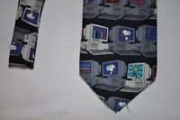 Vtg COMPUTER PC RETRO 100% Imported SILK PEANUTS SNOOPY WOODSTOCK Neck Tie