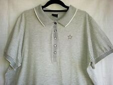 SIZE 20 WOMENS EXPRESSION SHORT SLEEVED POLO TOP GREY WITH WHITE STRIPES