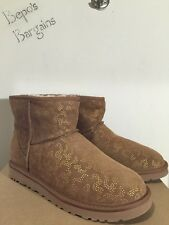 NIB WOMEN'S UGG AUSTRALIA CLASSIC MINI METALLIC CONIFER CHESTNUT BOOTS SZ 7 NEW