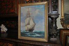 Antique ship Painting by Listed American Marine  Artist T. Bailey