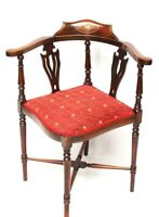 Antique Edwardian Marquetry Inlaid Mahogany Corner Chair [5967]