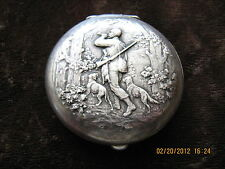SALE! Huguenin Freres highest quality repousse 84 (875) silver snuff tobacco box