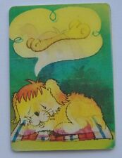 1985 USSR Russia Stereo View Pocket Calendar DREAMING PUPPY Cartoon Hero