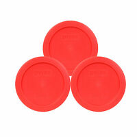 Pyrex 7200-PC Red 2 Cup Round Plastic Lid Covers 3PK for Glass Bowls New