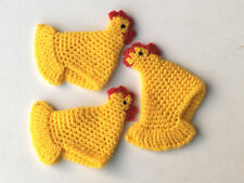 3 Stück Eierwärmer f. Ostern Motiv Kücken gehäkelt handarbeit gelb