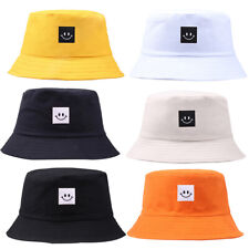 Unisex Fisherman Bucket Hat Smiley Face Folding Patch Cap Canvas Sun Beach Hat