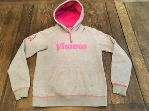 MINNESOTA VIKINGS women's M medium NIKE Breast Cancer hooded sweatshirt Hoodie !