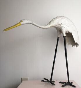 Mid Century Outdoor Lawn Crane Heron Bird Cast Iron Statue Japan MCM Metal