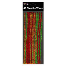 40 Metallic Chenille Wires Pipe Cleaners Gold Silver Red Green Gliiter Craft