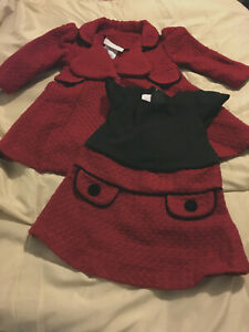 Bonnie Baby Coat and Dress SET 3-6 mo RED w/BLACK Christmas Adorable   Free Ship