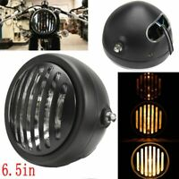 6.5'' Motorcycle Halogen Headlight Bulb Grill Cover For Harley Bobber Cafe Racer