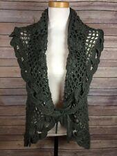 JOHN FASHION Sleeveless Sweater Shawl XL Vest Gray Knit Wool Blend