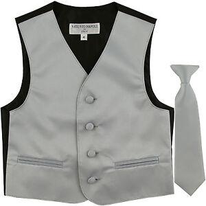New Kids Boys Formal Tuxedo Vest Necktie Gray US Sizes 2-14 Wedding Party