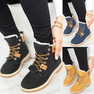 LADIES FLAT FUR LINED WOMENS GRIP SOLE WINTER ARMY COMBAT ANKLE BOOTS SHOES SIZE