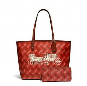 COACH City Tote & Matching Accordion Slim Wallet in Red Horse & Carriage Print