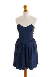Vintage Partykleid sexy kurz Kleid Abendkleid blau Taft mystisch Elfe XS