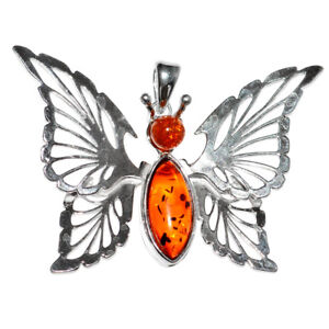 11.59g Butterfly Authentic Baltic Amber 925 Sterling Silver Pendant N-A584