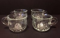Vintage Glass Punch Cups set of 4, Fruit pattern.