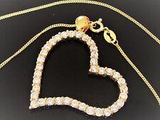 Collier Herz Anhänger mit Kette 925 Sterling Silber Vergoldet Zirkonia Damen
