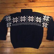 VTG Polo By Ralph Lauren 97% Wool Hand Knit Sweater Large Medium Ski Snowflake