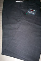 NWT! $98 KIRKLAND WOOL FLAT FRONT DRESS PANTS - GRAY PLAID - 36X30