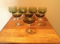 8 green Celebrity Crystal Stratford 4 oz cordial wine twisted stem glasses