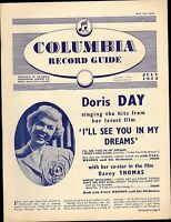 COLUMBIA RECORD CATALOGUE SUPPLEMENT 1952 07 JULY doris day/guy mitchell/etc