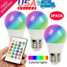 3Pack E26 E27 3W RGB LED Light Bulb 16 Color Changing Lamp IR Remote Control US