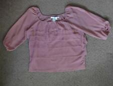 STUDIO M 3/4 SLEEVE TIERED BLOUSE, Pink, Size XL, MSRP $78