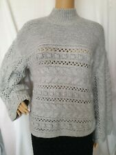 BNWT, F&F, Women's Grey Oversized Cable Knit Long Sleeve Jumper, Size 12