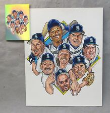 original art SEATTLE MARINERS LOU'S CREW 1994 Larry Weber for TACO TIME postcard
