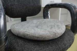 Wool Seat Pad - Gray Chair Cushion -35 CM -Handmade Round Chairpad - Ecofriendly