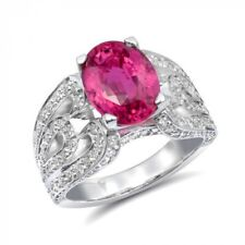 Natural Unheated Pink Sapphire 4.05 carats set in 14K White Gold Ring
