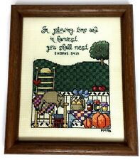 Completed finished cross stitch country theme framed Bible verse 8 1/8 x 9 5/8