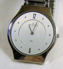 Nice Men's Skagen Denmark Steel Chrome Thin Slim 3 ATM Water Resistant Watch