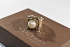 Silpada Hammered Sterling Silver Freshwater Pearl Ring Size 8  RETIRED R0898