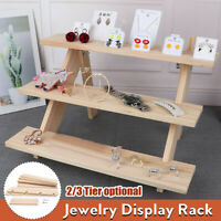 2/3 Tiers Wooden Earring Display Rack Jewelry Rings Stand Succulents Holder Home
