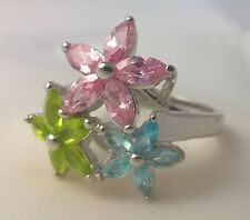 G-Filled Ladies 18ct gold multi coloured ring peridot blue topaz pink sapphire 7