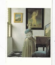 Johannes Vermeer A Young Woman Standing at a Virginal Postcard used VGC