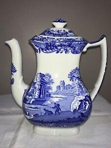 Vintage Copeland Spode Italian Blue Large Coffee Pot 2.5 Pint VGC