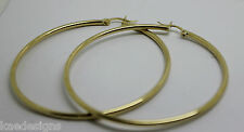 9CT YELLOW GOLD LARGE 6.3CM WIDE HOLLOW HOOP ROUND EARRINGS *FREE EXPRESS POST