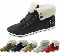 Womens Fur Lined Trainer Ladies Fleece Ankle Boots High Top Girls Pumps Shoes