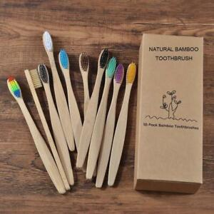Eco Friendly Mixed Color Charcoal Wooden Bamboo Toothbrush with Soft Bristle Tip