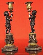 Pair antique French ormolu putto candlesticks marble bronze candelabra Napoleon