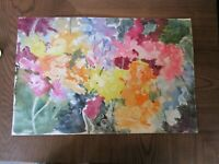"2 Original Watercolors by Peg Humphreys,Flowers in Bushes & Tulips 11.75""x 18"""