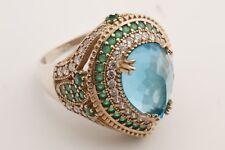 Turkish Jewelry Drop London Blue Emerald Topaz 925 Sterling Silver Ring Size 9.5