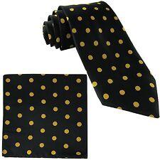 New Men's Polyester Woven Necktie & Pocket Square Hankie Polka Dots Black Gold