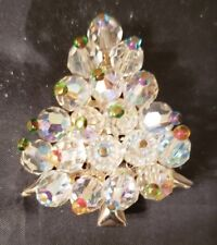VINTAGE CHRISTMAS TREE BROOCH - AURORA BOREALIS CRYSTALS